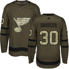 Youth Martin Brodeur Authentic St. Louis Blues #30 Green Salute to Service Jersey