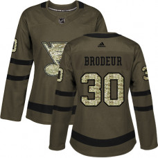 Women's Martin Brodeur Authentic St. Louis Blues #30 Green Salute to Service Jersey