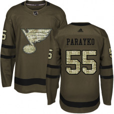 Youth Colton Parayko Premier St. Louis Blues #55 Green Salute to Service Jersey