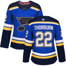 Women's Chris Thorburn Authentic St. Louis Blues #22 Royal Blue Home Jersey