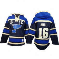 Brett Hull St. Louis Blues Authentic Old Time Hockey Sawyer Hooded Sweatshirt Navy Blue Jersey
