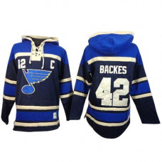 David Backes St. Louis Blues Authentic Old Time Hockey Sawyer Hooded Sweatshirt Navy Blue Jersey