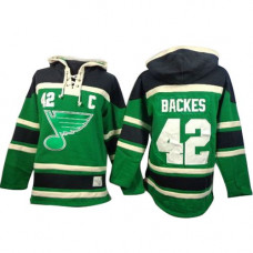 David Backes St. Louis Blues Authentic Old Time Hockey St. Patrick's Day McNary Lace Hoodie Green Jersey