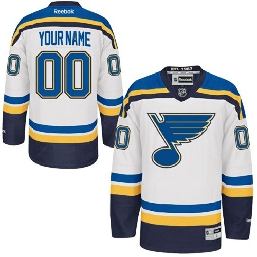 St. Louis Blues Men's Customized Premier White Away Jersey